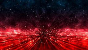 Space with bright rotating red particles and beams of bright light