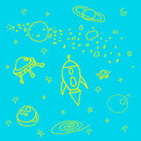 Space. Bright space scetch illustrations on blue background Stock Photo