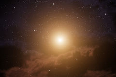 Space with bright star. Royalty Free Stock Photography