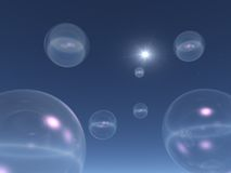 Space Bubbles. 3d abstract Space Bubblesand stars Stock Photo