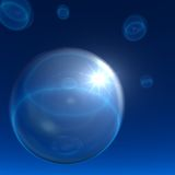 Space Bubbles Background with Night Star. Abstract Space Bubbles with star shining through Stock Photo