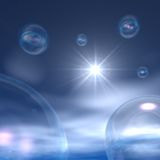 Space Bubbles - Night Clouds and Star. 3d abstract Space Bubbles and stars Stock Image