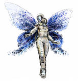 Space butterfly girl Royalty Free Stock Photo
