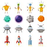 Space cartoon icons set. Planets, rockets, ufo elements on white background, vector, isolated, cartoon style vector illustration