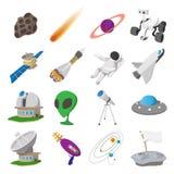 Space cartoon illustrations set. 16 symbols on a white background vector illustration