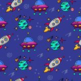 Space cartoon pattern seamless vector flat background Stock Photos