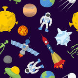 Space cartoon seamless pattern. Vector background. Astronaut and Royalty Free Stock Images