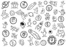 Space cartoon set coloring page. Black and White Cartoon Illustration of Space Objects and Fantasy Characters Set Coloring Page Stock Photos