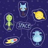 Space Cartoon Style Colorful Icons Set. Space concept in cartoon style. Smiling planet Saturn, funny aliens, fiery comet or meteorite icons set isolated on blue Royalty Free Stock Image