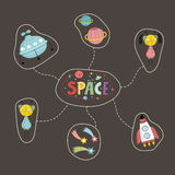 Space Cartoon Style Vector Concept Royalty Free Stock Images