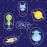 Space Cartoon Style Vector Icons Set Stock Image
