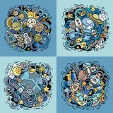 Space cartoon vector doodle illustration. Colorful detailed designs with lot of objects and symbols. 4 composition set. All elements separate Stock Image
