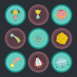 Space Cartoon Vector Icons Collection. Space objects cartoon icons. Cute alien boy and girl characters, planet Saturn, falling star or comet, moon in craters Royalty Free Stock Image