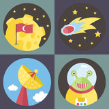 Space Cartoon Vector Icons Collection Royalty Free Stock Photo