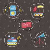 Space Cartoon Vector Icons Set Royalty Free Stock Image