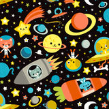 Space Cat Bunny Dog. Seamless half-drop pattern with funny cartoon astronaut cat, bunny and dog characters, carrot spaceship, planets and stars vector illustration