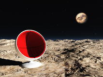 Space chair. Red ball-chair in desert planet space (3D rendering Stock Image