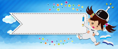 Free Space Child Cartoon And Cloud And Blue Background 002 Royalty Free Stock Photography - 49830817