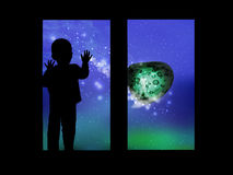 Space and the child looking out the window stock illustration