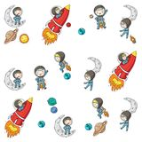 Space for children. Kids and cosmos exploration. Adventures, planets, stars. Earth and Moon. Rocket, shuttle, sun. Space for children. Astronomy planets Earth royalty free illustration
