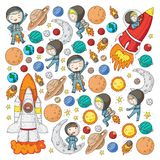 Space for children. Kids and cosmos exploration. Adventures, planets, stars. Earth and Moon. Rocket, shuttle, sun. Space for children. Astronomy planets Earth vector illustration