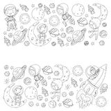 Space for children. Coloring page, book. Kids and cosmos exploration. Adventures, planets, stars. Earth and Moon. Rocket. Space for children. Kids and cosmos royalty free illustration