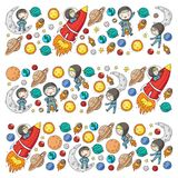 Space for children. Kids and cosmos exploration. Adventures, planets, stars. Earth and Moon. Rocket, shuttle, sun. Space for children. Astronomy planets Earth stock illustration