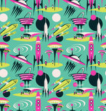 The space city of the future - vector seamless pattern. Space fabric design with rockets and modern city. Stock Image