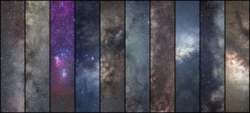 Space collage. Astronomy collage. Astrophotography collage. universe. NLong exposure photography Stock Images