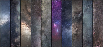 Space collage. Astronomy collage. Astrophotography collage. universe. NLong exposure photography Stock Photography