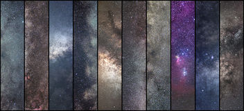 Space collage. Astronomy collage. Astrophotography collage. universe. NLong exposure photography Stock Photos
