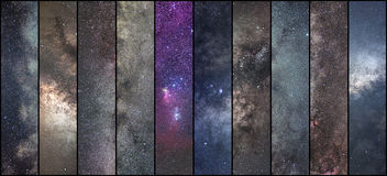 Space collage. Astronomy collage. Astrophotography collage. universe. NLong exposure photography Stock Photo