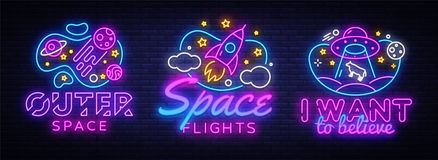 Space collection neon signs vector. Cosmic Theme design template concept. Neon banner background design, night symbol. Modern trend design. Vectro Illustration vector illustration