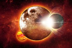 Space Collision. Illustration. Abstract  Large Planet with Small One. Dark Red Glowing Space in the Background royalty free stock photo