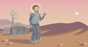 Space colonization panorama. Colony on other planet. Rounded lineart. astronaut Stock Image