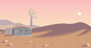 Space colonization panorama. Colony on other planet. Rounded lineart. Mars Stock Image