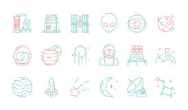 Space colored icon. Astronomy collection universe discovery astronaut alien shuttle rocket lunar radar vector futuristic. Symbols. Outline astronaut and alien stock illustration