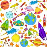 Space colored seamless pattern Royalty Free Stock Photos