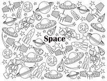 Space colorless set vector illustration. Space design colorless set vector illustration. Coloring book. Black and white line art Royalty Free Stock Photo
