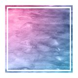 Space colors hand drawn watercolor rectangular frame background texture with stains. Modern design element royalty free stock image