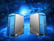 Space communication. Abstract servers in space,communications Stock Images