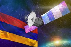 Space communications technology concept - satellite with Armenia flag, 3D Illustration royalty free illustration