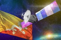 Space communications technology concept - satellite with Bhutan flag, 3D Illustration stock images