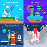 Space Concept Set. Space design concept set with astronaut flat icons isolated vector illustration stock illustration