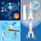 Space concept:  spaceship, rocket, planet, orbit Stock Photo