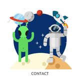 Space Contact Vector Image. Alien space vector astronaut contact aliens greeting green illustration first cartoon background communication friendship cute hand Royalty Free Stock Photos