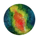 Space Cosmic background. Colorful watercolor galaxy or night sky with stars. Hand drawn cosmos illustration with blobs Stock Image