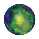 Space Cosmic background. Colorful watercolor galaxy or night sky with stars. Hand drawn cosmos illustration with blobs Stock Photos