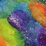 Space Cosmic background. Colorful watercolor galaxy or night sky with stars. Hand drawn cosmos illustration with blobs Royalty Free Stock Photo