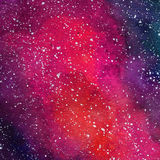 Space Cosmic background. Colorful watercolor galaxy or night sky with stars. Hand drawn cosmos illustration with blobs Royalty Free Stock Photography